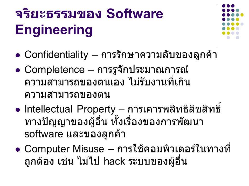 จริยะธรรมของ Software Engineering Confidentiality – การรักษาความลับของลูกค้า Completence – การรูจักประมาณการณ์ ความสามารถของตนเอง ไม่รับงานที่เกิน ควา