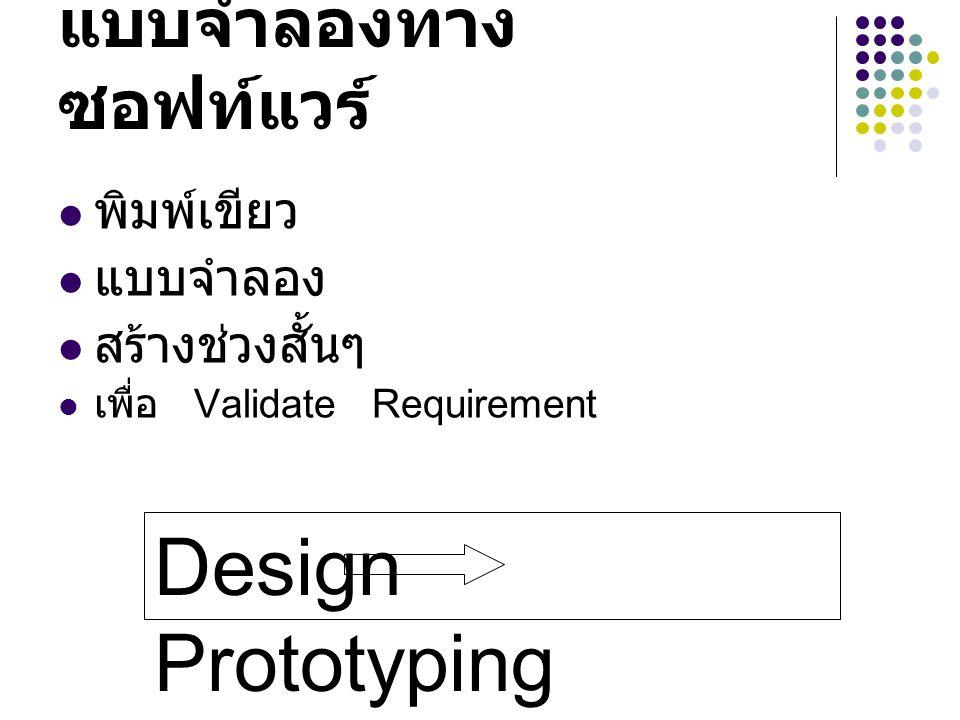 ขั้นตอนการทำ Prototype ตั้งเป้าหมาย (Objective) เลือก Function ที่ Meet Objective สร้าง Develop Protoype ให้ผู้ใช้ดูแล้ว Feedback
