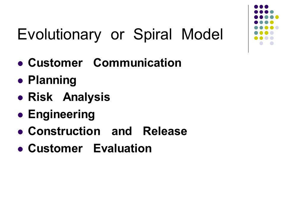 Evolutionary or Spiral Model Customer Communication Planning Risk Analysis Engineering Construction and Release Customer Evaluation