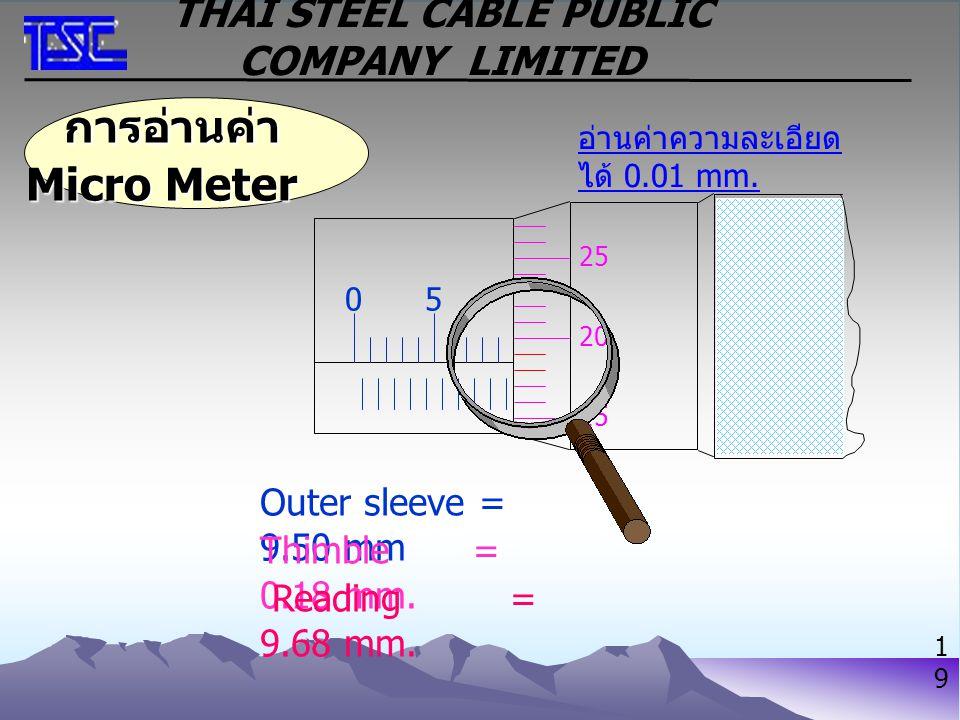 การอ่านค่า Micro Meter การอ่านค่า Micro Meter อ่านค่าความละเอียด ได้ 0.01 mm. Outer sleeve = 9.50 mm Thimble = 0.18 mm. Reading = 9.68 mm. 05 15 20 25