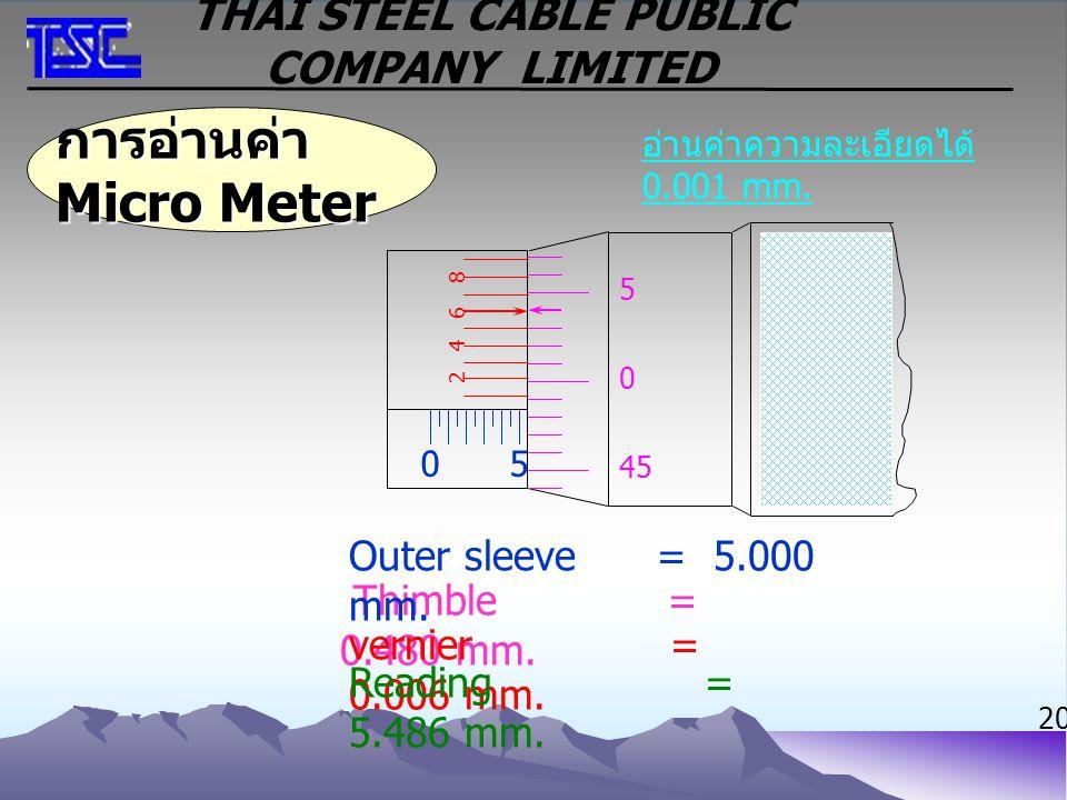 การอ่านค่า Micro Meter อ่านค่าความละเอียดได้ 0.001 mm. Thimble = 0.480 mm. vernier = 0.006 mm. Reading = 5.486 mm. Outer sleeve = 5.000 mm. 05 2 45 0