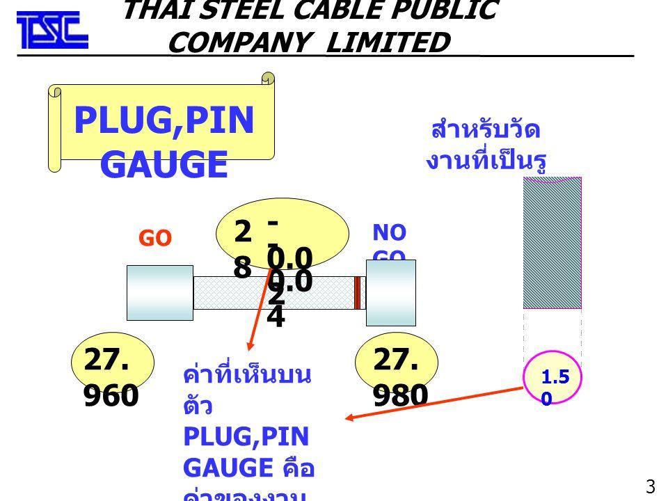 3636 THAI STEEL CABLE PUBLIC COMPANY LIMITED PLUG,PIN GAUGE GO NO GO 2828 - 0.0 4 27. 960 27. 980 - 0.0 2 ค่าที่เห็นบน ตัว PLUG,PIN GAUGE คือ ค่าของงา