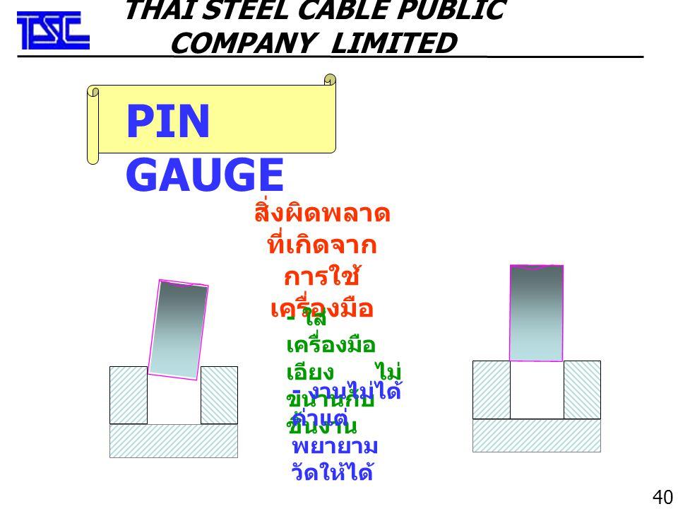 PIN GAUGE สิ่งผิดพลาด ที่เกิดจาก การใช้ เครื่องมือ - ใส่ เครื่องมือ เอียง ไม่ ขนานกับ ชิ้นงาน - งานไม่ได้ ค่าแต่ พยายาม วัดให้ได้ 40 THAI STEEL CABLE