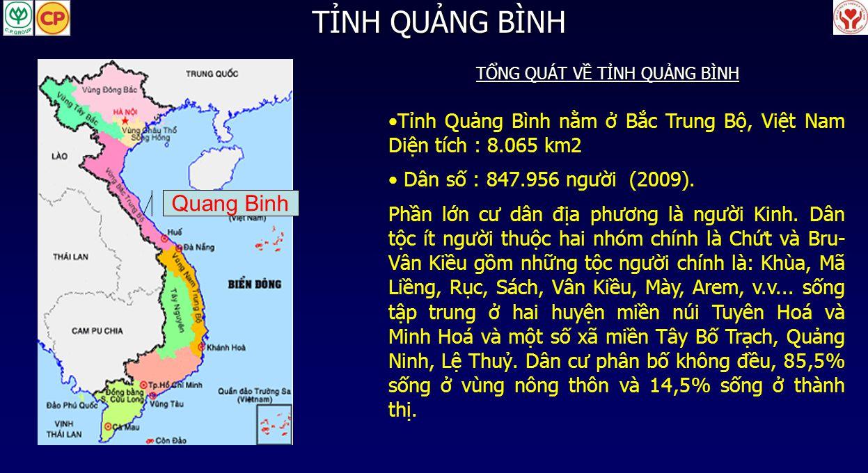 Tỉnh Quảng Bình nằm ở Bắc Trung Bộ, Việt Nam Diện tích : 8.065 km2 Dân số : 847.956 người (2009). Phần lớn cư dân địa phương là người Kinh. Dân tộc ít