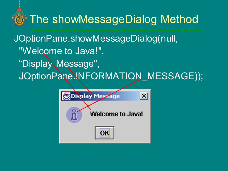 The showMessageDialog Method JOptionPane.showMessageDialog(null, Welcome to Java! , Display Message , JOptionPane.INFORMATION_MESSAGE));