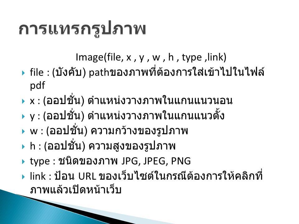 Image(file, x, y, w, h, type,link)  file : ( บังคับ ) path ของภาพที่ต้องการใส่เข้าไปในไฟล์ pdf  x : ( ออปชั่น ) ตำแหน่งวางภาพในแกนแนวนอน  y : ( ออป