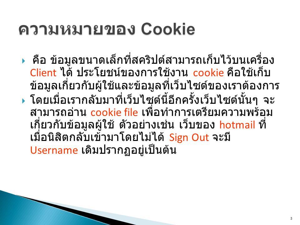 3  คือ ข้อมูลขนาดเล็กที่สคริปต์สามารถเก็บไว้บนเครื่อง Client ได้ ประโยชน์ของการใช้งาน cookie คือใช้เก็บ ข้อมูลเกี่ยวกับผู้ใช้และข้อมูลที่เว็บไซต์ของเราต้องการ  โดยเมื่อเรากลับมาที่เว็บไซต์นี้อีกครั้งเว็บไซต์นั้นๆ จะ สามารถอ่าน cookie file เพื่อทำการเตรียมความพร้อม เกี่ยวกับข้อมูลผู้ใช้ ตัวอย่างเช่น เว็บของ hotmail ที่ เมื่อนิสิตกลับเข้ามาโดยไม่ได้ Sign Out จะมี Username เดิมปรากฏอยู่เป็นต้น
