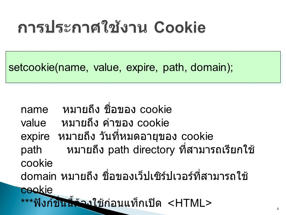 4 setcookie(name, value, expire, path, domain); name หมายถึง ชื่อของ cookie value หมายถึง ค่าของ cookie expire หมายถึง วันที่หมดอายุของ cookie path หม