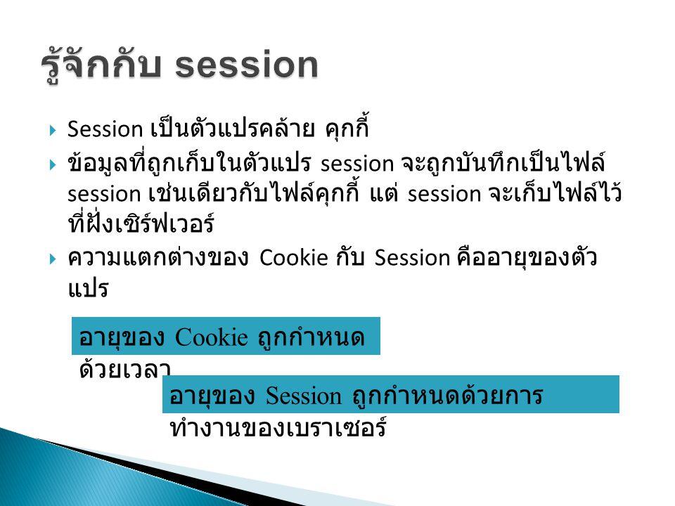  Session เป็นตัวแปรคล้าย คุกกี้  ข้อมูลที่ถูกเก็บในตัวแปร session จะถูกบันทึกเป็นไฟล์ session เช่นเดียวกับไฟล์คุกกี้ แต่ session จะเก็บไฟล์ไว้ ที่ฝั่งเซิร์ฟเวอร์  ความแตกต่างของ Cookie กับ Session คืออายุของตัว แปร อายุของ Cookie ถูกกำหนด ด้วยเวลา อายุของ Session ถูกกำหนดด้วยการ ทำงานของเบราเซอร์