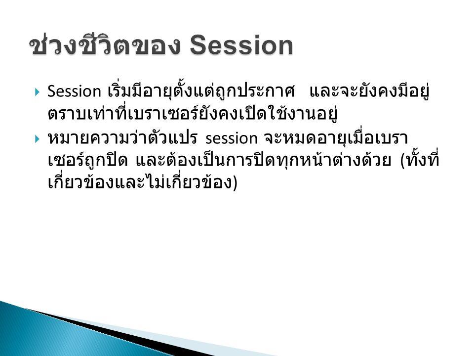  Session เริ่มมีอายุตั้งแต่ถูกประกาศ และจะยังคงมีอยู่ ตราบเท่าที่เบราเซอร์ยังคงเปิดใช้งานอยู่  หมายความว่าตัวแปร session จะหมดอายุเมื่อเบรา เซอร์ถูกปิด และต้องเป็นการปิดทุกหน้าต่างด้วย ( ทั้งที่ เกี่ยวข้องและไม่เกี่ยวข้อง )