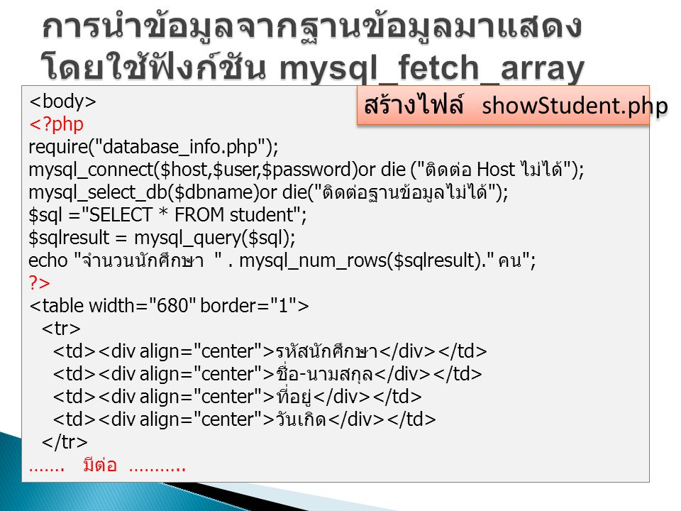 <?php require( database_info.php ); mysql_connect($host,$user,$password)or die ( ติดต่อ Host ไม่ได้ ); mysql_select_db($dbname)or die( ติดต่อฐานข้อมูลไม่ได้ ); $sql = SELECT * FROM student ; $sqlresult = mysql_query($sql); echo จำนวนนักศึกษา .