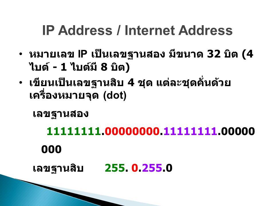 IP Address / Internet Address หมายเลข IP เป็นเลขฐานสอง มีขนาด 32 บิต (4 ไบต์ - 1 ไบต์มี 8 บิต ) เขียนเป็นเลขฐานสิบ 4 ชุด แต่ละชุดคั่นด้วย เครื่องหมายจุด (dot) เลขฐานสอง 11111111.00000000.11111111.00000 000 เลขฐานสิบ 255.