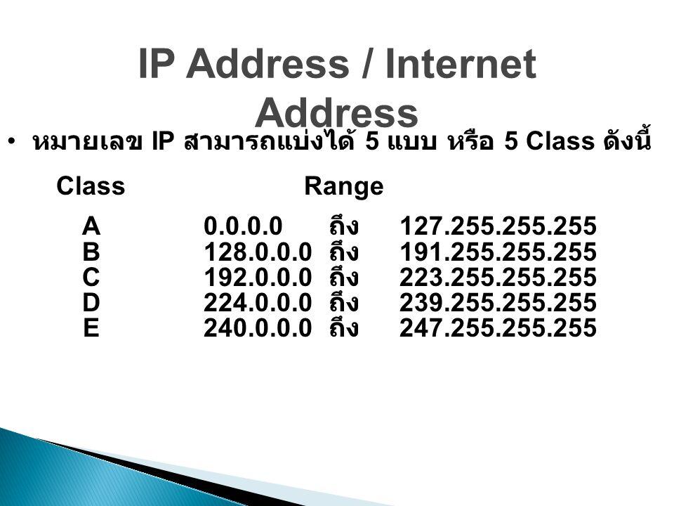 IP Address / Internet Address หมายเลข IP สามารถแบ่งได้ 5 แบบ หรือ 5 Class ดังนี้ ClassRange A0.0.0.0 ถึง 127.255.255.255 B128.0.0.0 ถึง 191.255.255.255 C192.0.0.0 ถึง 223.255.255.255 D224.0.0.0 ถึง 239.255.255.255 E240.0.0.0 ถึง 247.255.255.255