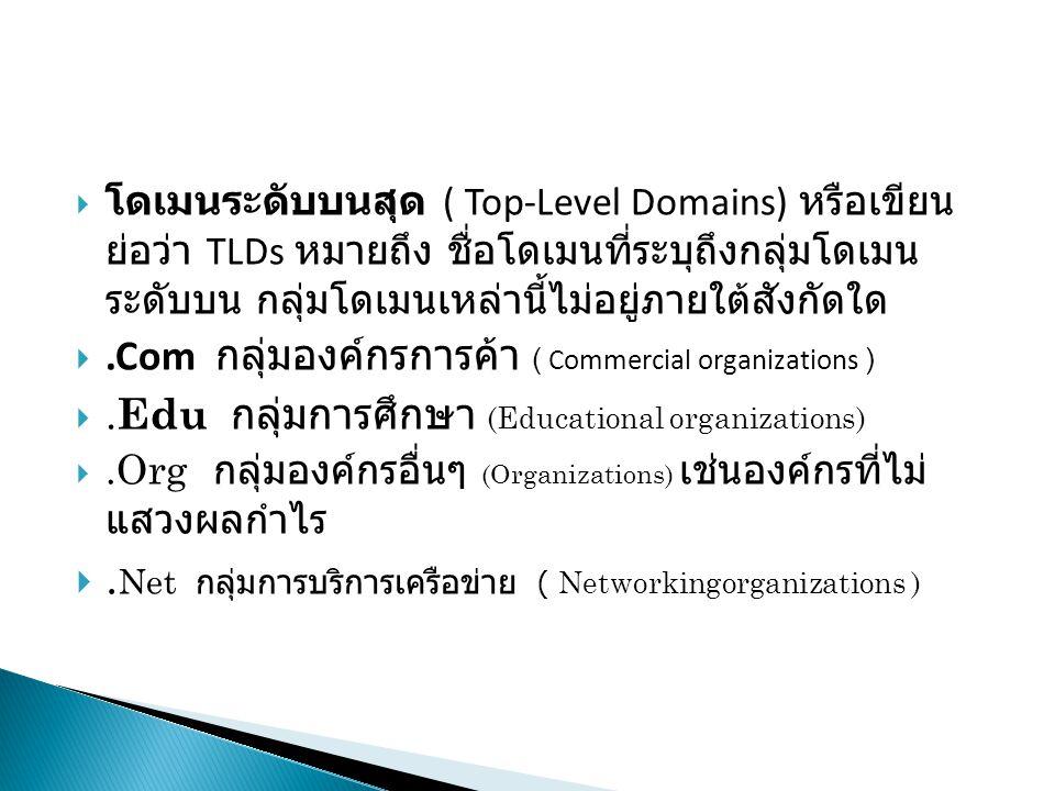  โดเมนระดับบนสุด ( Top-Level Domains) หรือเขียน ย่อว่า TLDs หมายถึง ชื่อโดเมนที่ระบุถึงกลุ่มโดเมน ระดับบน กลุ่มโดเมนเหล่านี้ไม่อยู่ภายใต้สังกัดใด .Com กลุ่มองค์กรการค้า ( Commercial organizations ) .