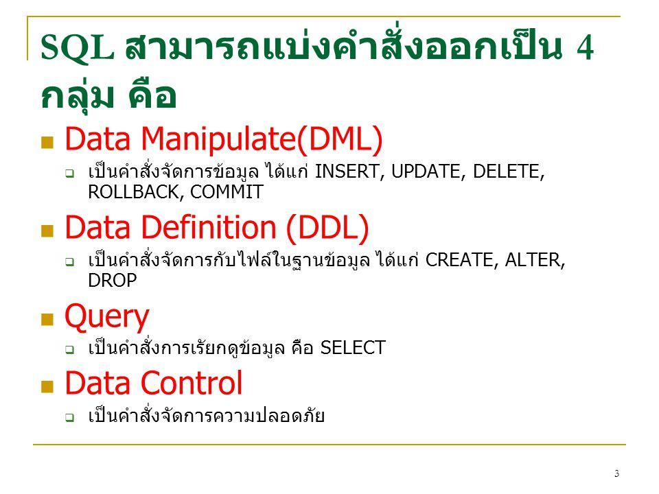 3 SQL สามารถแบ่งคำสั่งออกเป็น 4 กลุ่ม คือ Data Manipulate(DML)  เป็นคำสั่งจัดการข้อมูล ได้แก่ INSERT, UPDATE, DELETE, ROLLBACK, COMMIT Data Definitio