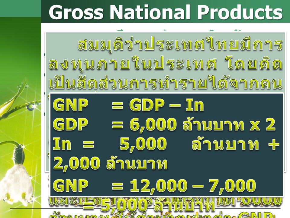 Gross National Products