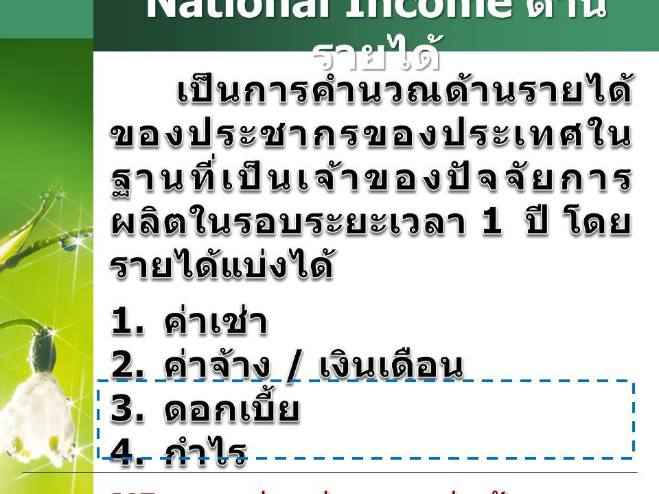 National Income ด้าน รายได้
