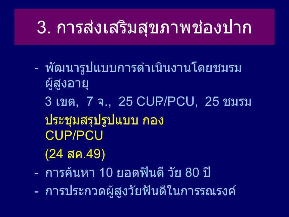 3. การส่งเสริมสุขภาพช่องปาก - พัฒนารูปแบบการดำเนินงานโดยชมรม ผู้สูงอายุ 3 เขต, 7 จ., 25 CUP/PCU, 25 ชมรม ประชุมสรุปรูปแบบ กอง CUP/PCU (24 สค.49) - การ