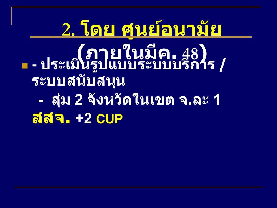 2. โดย ศูนย์อนามัย ( ภายในมีค. 48 ) - ประเมินรูปแบบระบบบริการ / ระบบสนับสนุน - สุ่ม 2 จังหวัดในเขต จ. ละ 1 สสจ. +2 CUP