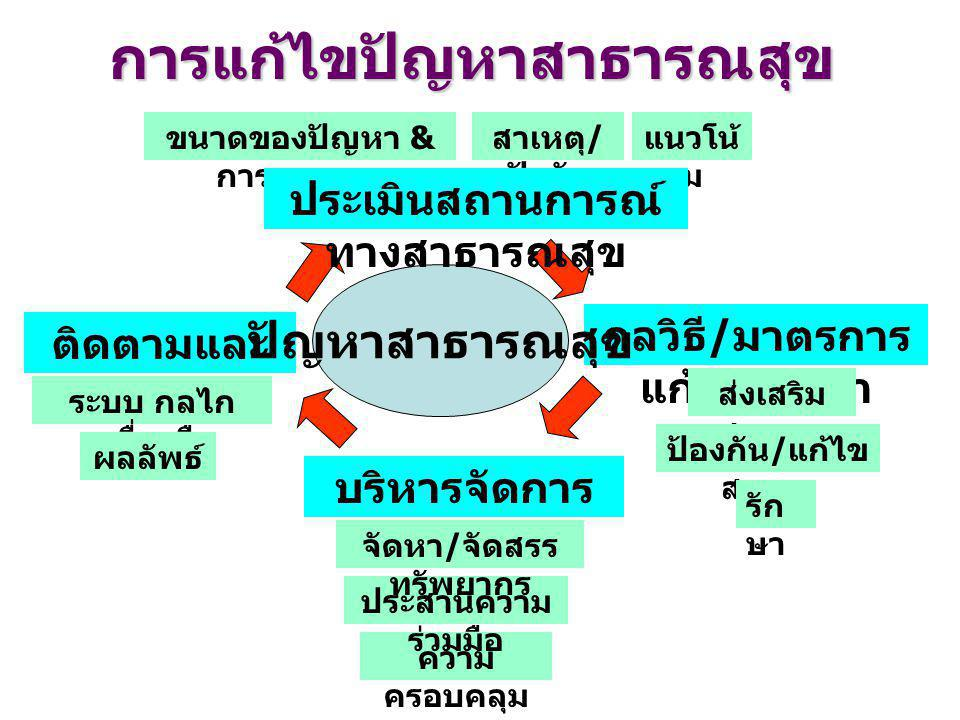 Information Knowledge Consumer Protection Provider Support Funder Alliance Healthy People Healthy Thailand Surveillance R & D Management M & E Human Resource Development Organization Development บทบาทหลัก 6 ด้านของกรมอนามัย (6 Keys Functions )