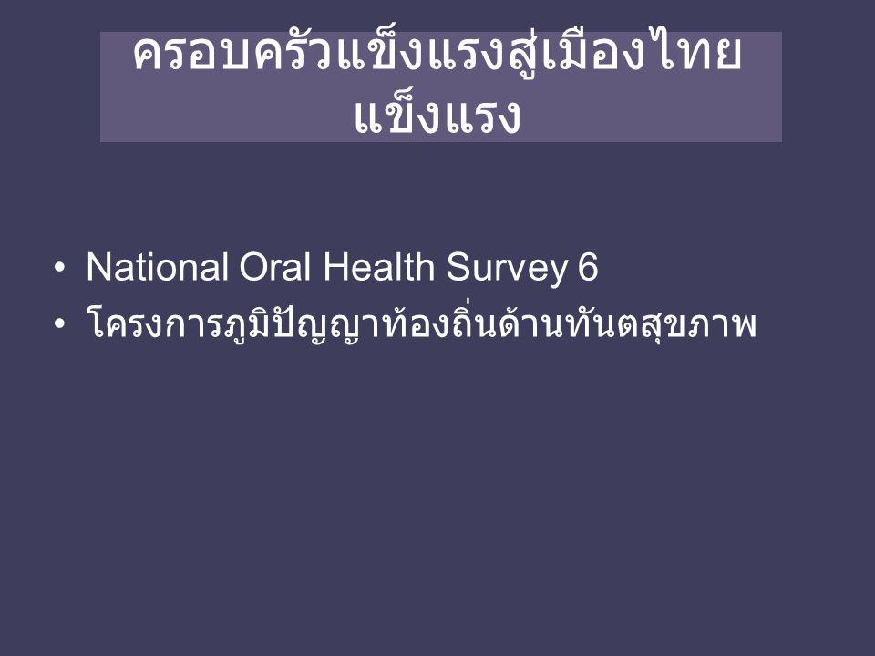 ครอบครัวแข็งแรงสู่เมืองไทย แข็งแรง National Oral Health Survey 6 โครงการภูมิปัญญาท้องถิ่นด้านทันตสุขภาพ