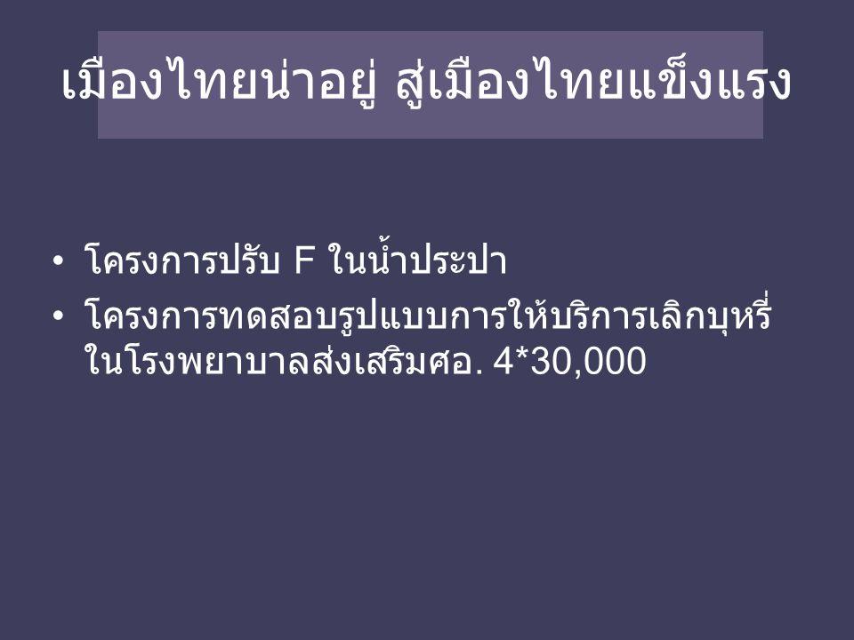 เมืองไทยน่าอยู่ สู่เมืองไทยแข็งแรง โครงการปรับ F ในน้ำประปา โครงการทดสอบรูปแบบการให้บริการเลิกบุหรี่ ในโรงพยาบาลส่งเสริมศอ.