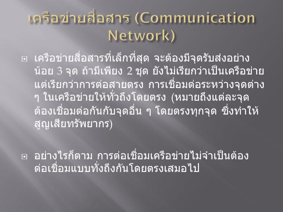  เครือข่ายสื่อสารที่เล็กที่สุด จะต้องมีจุดรับส่งอย่าง น้อย 3 จุด ถ้ามีเพียง 2 ชุด ยังไม่เรียกว่าเป็นเครือข่าย แต่เรียกว่าการต่อสายตรง การเชื่อมต่อระหว่างจุดต่าง ๆ ในเครือข่ายให้ทั่วถึงโดยตรง ( หมายถึงแต่ละจุด ต้องเชื่อมต่อกันกับจุดอื่น ๆ โดยตรงทุกจุด ซึ่งทำให้ สูญเสียทรัพยากร )  อย่างไรก็ตาม การต่อเชื่อมเครือข่ายไม่จำเป็นต้อง ต่อเชื่อมแบบทั่งถึงกันโดยตรงเสมอไป
