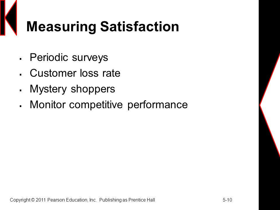 Copyright © 2011 Pearson Education, Inc. Publishing as Prentice Hall 5-10 Measuring Satisfaction  Periodic surveys  Customer loss rate  Mystery sho