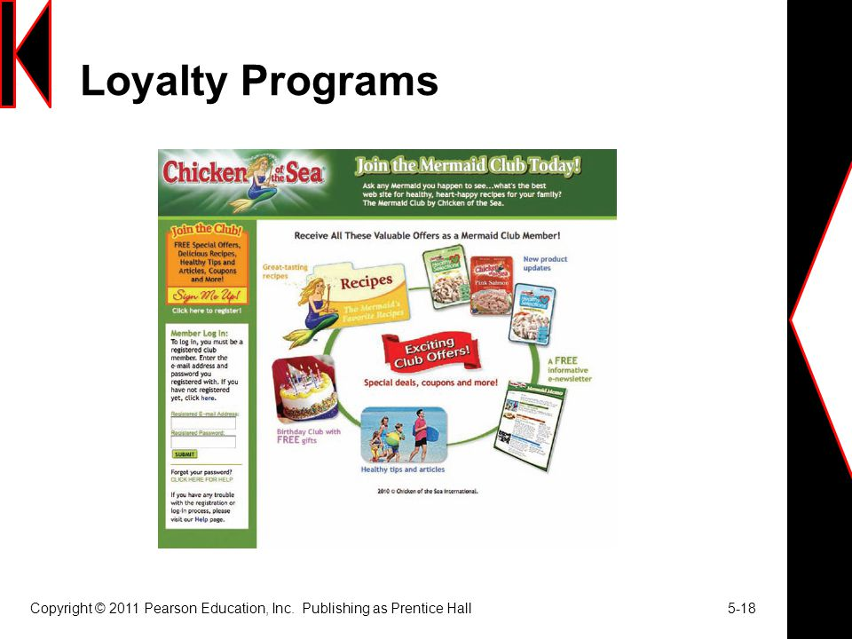 Loyalty Programs Copyright © 2011 Pearson Education, Inc. Publishing as Prentice Hall 5-18