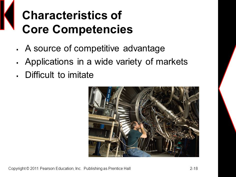 Characteristics of Core Competencies  A source of competitive advantage  Applications in a wide variety of markets  Difficult to imitate Copyright © 2011 Pearson Education, Inc.
