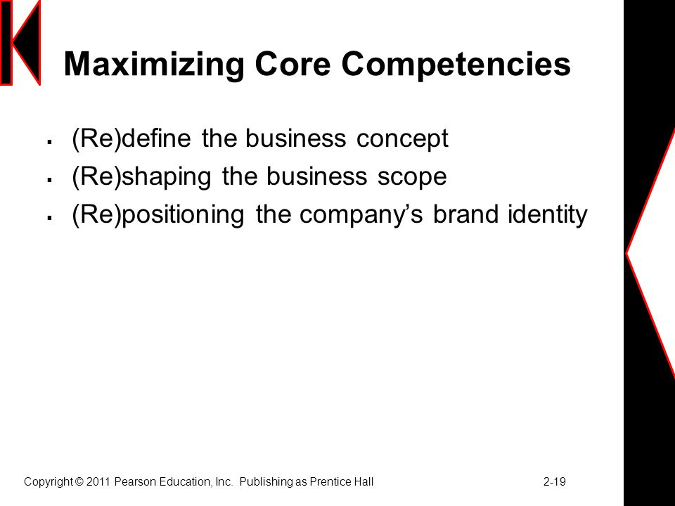 Maximizing Core Competencies  (Re)define the business concept  (Re)shaping the business scope  (Re)positioning the company's brand identity Copyright © 2011 Pearson Education, Inc.