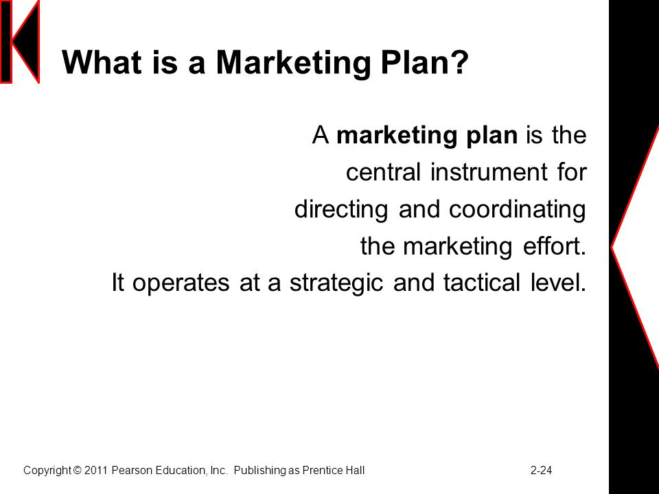 Copyright © 2011 Pearson Education, Inc.Publishing as Prentice Hall 2-24 What is a Marketing Plan.