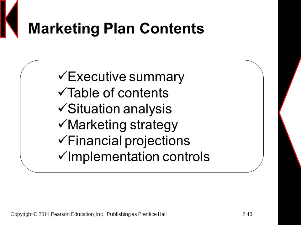 Marketing Plan Contents Copyright © 2011 Pearson Education, Inc.