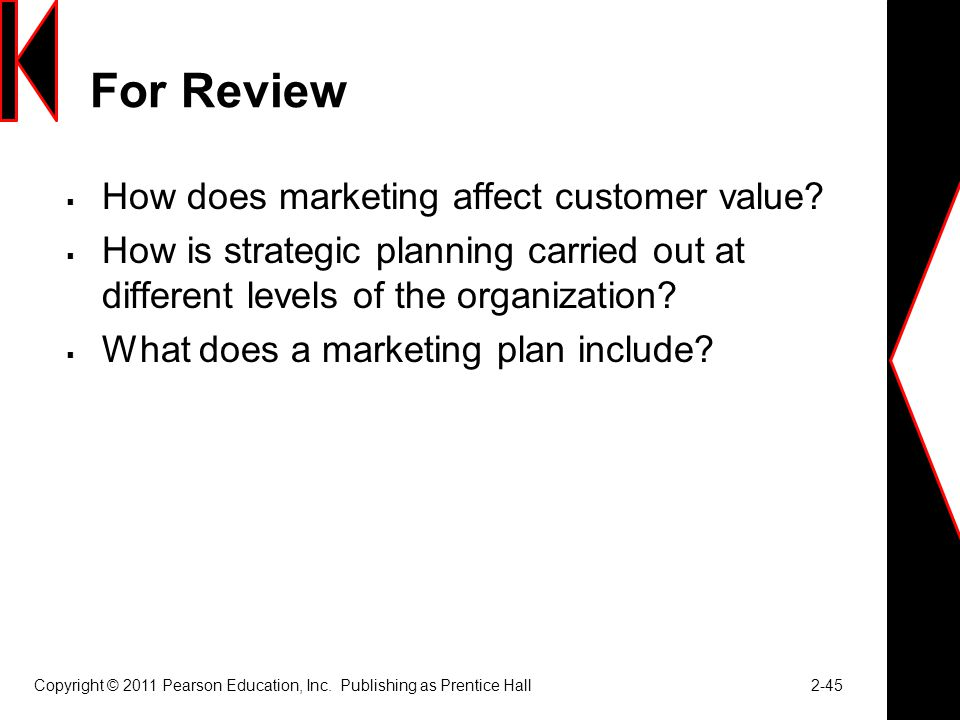 For Review  How does marketing affect customer value.