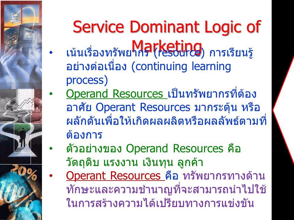 Service Dominant Logic of Marketing เน้นเรื่องทรัพยากร (resource) การเรียนรู้ อย่างต่อเนื่อง (continuing learning process) Operand Resources เป็นทรัพย