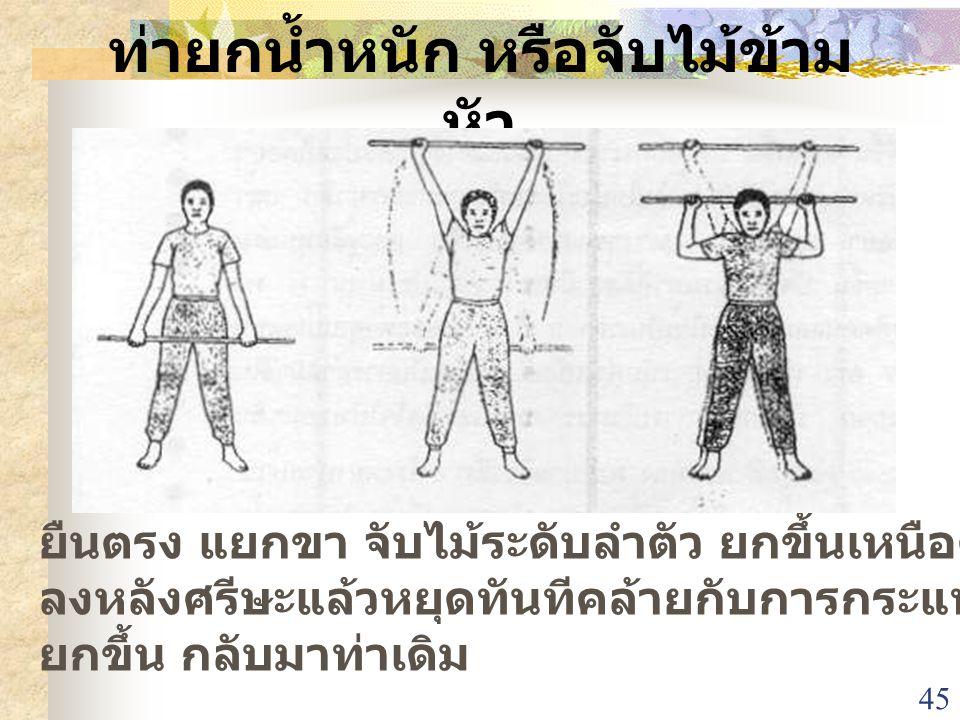 45 ท่ายกน้ำหนัก หรือจับไม้ข้าม หัว ยืนตรง แยกขา จับไม้ระดับลำตัว ยกขึ้นเหนือศรีษะ และดึง ลงหลังศรีษะแล้วหยุดทันทีคล้ายกับการกระแทกแต่ไม่โดยตัว ยกขึ้น