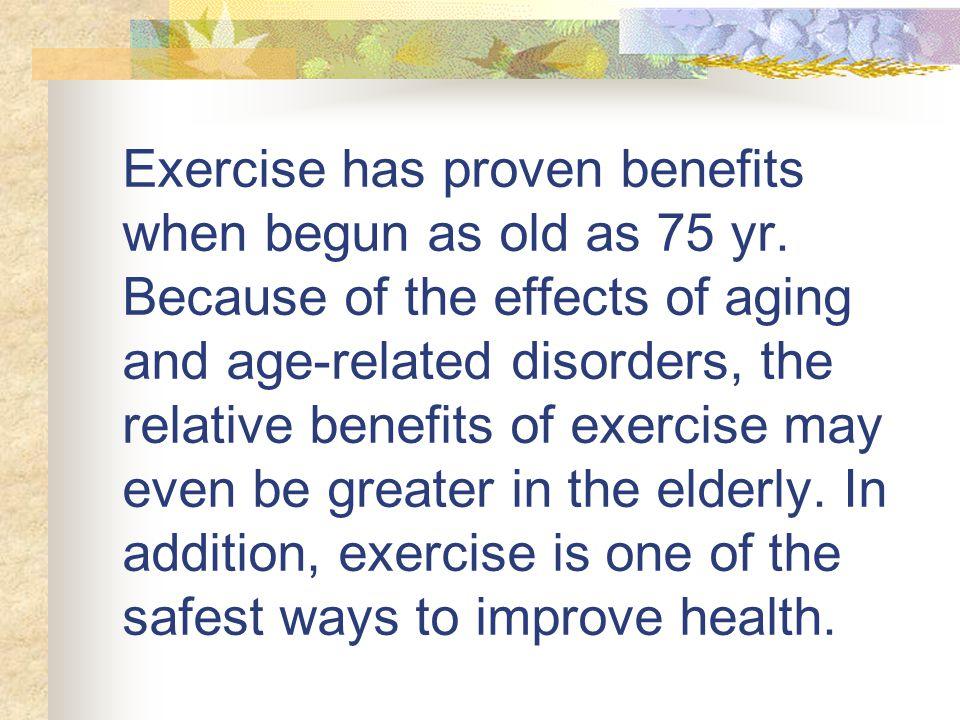 10 การออกกำลังกาย ประโยชน์ กล้ามเนื้อแข็งแรง การทรงตัว และรูปร่างดีขึ้น ชะลอความเสื่อมของอวัยวะต่าง ๆ สุขภาพจิต ช่วยการขับถ่าย การนอนหลับ ระบบ หัวใจ ปอด หลอดเลือด รักษาโรคบางอย่าง