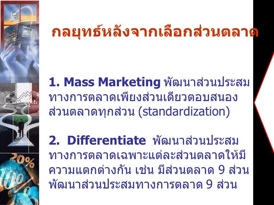 กลยุทธ์หลังจากเลือกส่วนตลาด 1. Mass Marketing พัฒนาส่วนประสม ทางการตลาดเพียงส่วนเดียวตอบสนอง ส่วนตลาดทุกส่วน (standardization) 2. Differentiate พัฒนาส