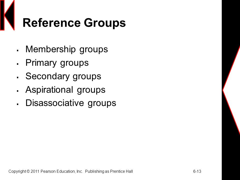 Copyright © 2011 Pearson Education, Inc. Publishing as Prentice Hall 6-13 Reference Groups  Membership groups  Primary groups  Secondary groups  A
