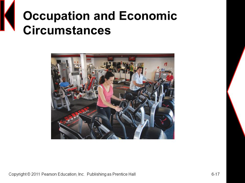 Occupation and Economic Circumstances Copyright © 2011 Pearson Education, Inc. Publishing as Prentice Hall 6-17