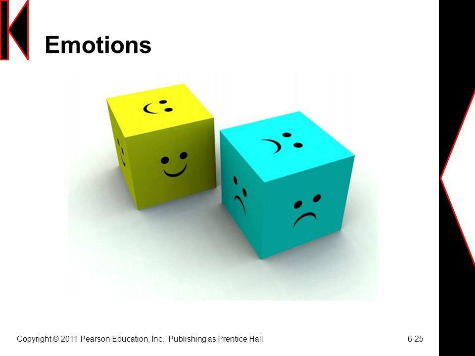 Emotions Copyright © 2011 Pearson Education, Inc. Publishing as Prentice Hall 6-25
