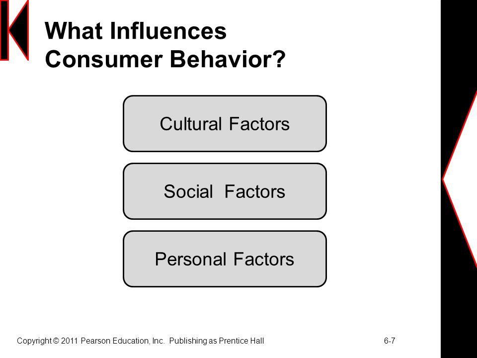 Copyright © 2011 Pearson Education, Inc. Publishing as Prentice Hall 6-7 What Influences Consumer Behavior? Cultural Factors Social Factors Personal F