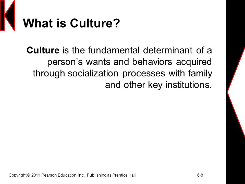 Copyright © 2011 Pearson Education, Inc.Publishing as Prentice Hall 6-8 What is Culture.