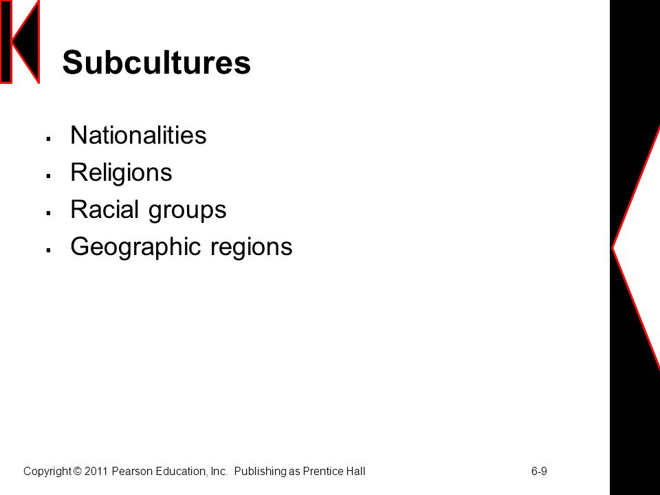 Copyright © 2011 Pearson Education, Inc. Publishing as Prentice Hall 6-9 Subcultures  Nationalities  Religions  Racial groups  Geographic regions