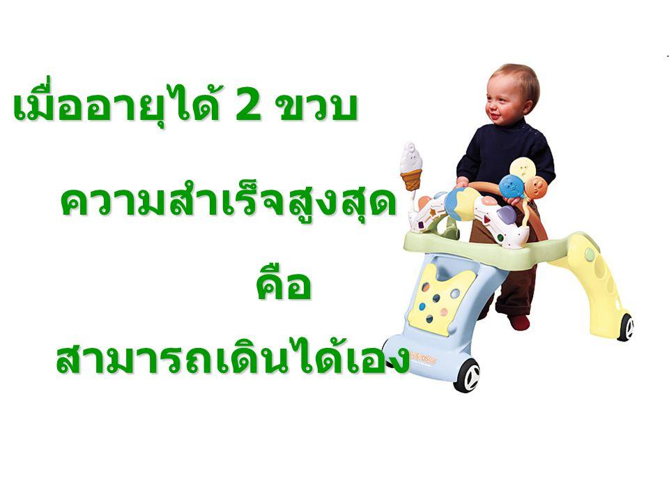 เมื่ออายุได้ 2 ขวบ ความสำเร็จสูงสุด คือ สามารถเดินได้เอง