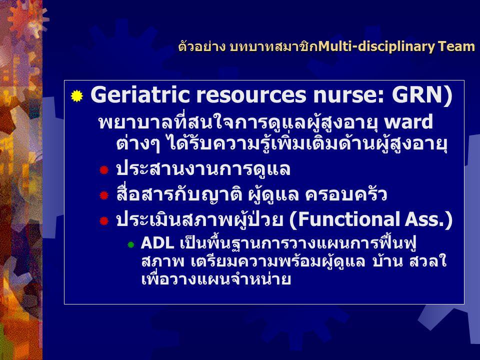 ตัวอย่าง บทบาทสมาชิก ทีมสหสาขาวิชาชีพ  แพทย์ผู้เชี่ยวชาญด้านผู้สูงอายุ (Geriatrician/physician)-  วินิจฉัยโรค ปัญหาผู้ป่วย  การใช้ยาที่เหมาะสม  ติ