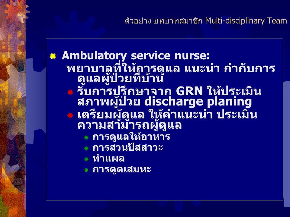 ตัวอย่าง บทบาทสมาชิกMulti-disciplinary Team  Geriatric resources nurse: GRN) พยาบาลที่สนใจการดูแลผู้สูงอายุ ward ต่างๆ ได้รับความรู้เพิ่มเติมด้านผู้ส