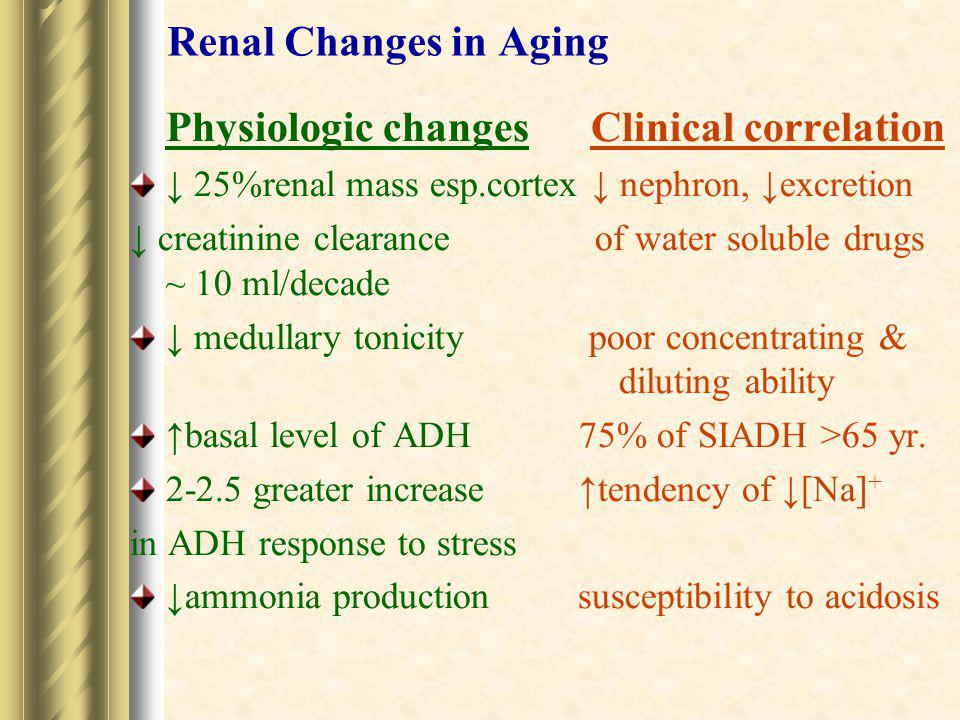 Renal Changes in Aging Physiologic changes Clinical correlation ↓ 25%renal mass esp.cortex ↓ nephron, ↓excretion ↓ creatinine clearance of water solub