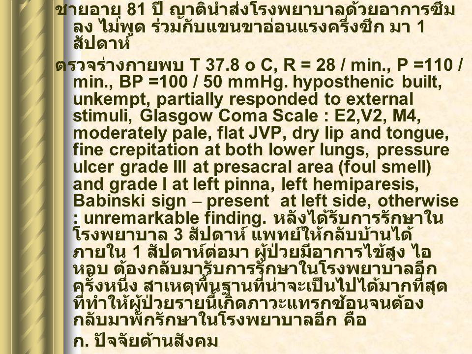 ชายอายุ 81 ปี ญาตินำส่งโรงพยาบาลด้วยอาการซึม ลง ไม่พูด ร่วมกับแขนขาอ่อนแรงครึ่งซีก มา 1 สัปดาห์ ตรวจร่างกายพบ T 37.8 o C, R = 28 / min., P =110 / min.