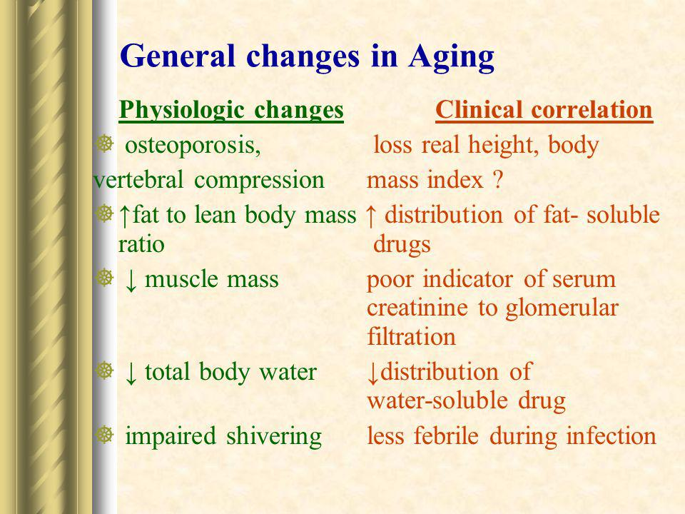 Changes of Audition in Aging Physiologic changesClinical correlation  ↓ hair cells of organ of Cortipresbycusis, high tone hearing loss  ↓discriminating source of ↑ handicap sound  ↓discriminating of verbalpoor compliance to sound from noisehearing aids  ↑ keratin wax contentear wax impaction